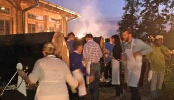 Atlanta Culinary Team Building - Outside on Grill